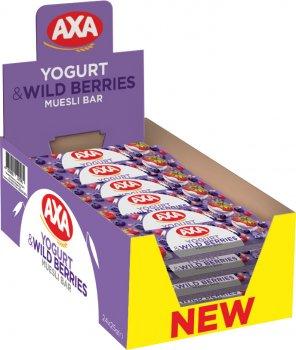 Упаковка зернових батончиків AXA зі смаком йогурту та лісових ягід 25 г x 24 шт. (4820008129581)