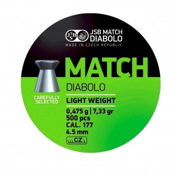 Пули JSB Diabolo MATCH LIGHT WEIGHT 4,5mm. 500шт. 0,475г.