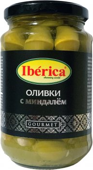 Оливки зеленые Iberica с миндалем 370 г (8436024298055)