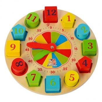Дерев'яна іграшка Годинник рамка-вкладиш+ шнурівка MD 2606