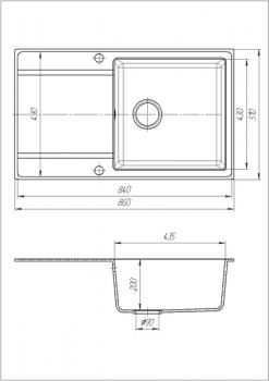 Кухонная мойка Galati Jorum 86 Bezhvy 401 правая чаша (10508)