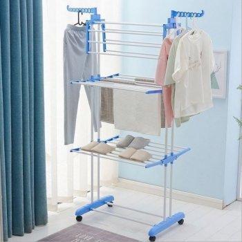 Сушарка для білизни трирівнева складна багатофункціональна сушка для одягу та речей біло-синя (D-2019090610)