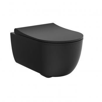 Унітаз підвісний DEVIT ART безободковый з кришкою мікроліфт 3020140B чорний матовий