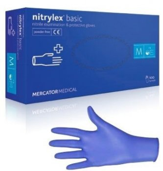 Перчатки нитриловые Nitrulrx Basic синие (уп 100шт 50пар) размер M (7479)