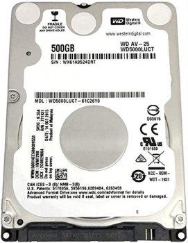 "Накопитель HDD 2.5"" SATA 500GB WD, 16Mb, AV-25 (WD5000LUCT)"