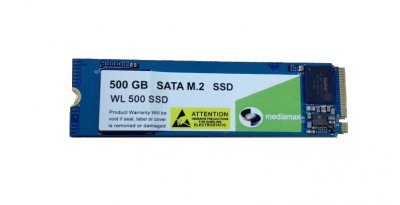 Накопитель SSD 500GB Mediamax M.2 2280 NVMe PCIe 3.0 x4 3D NAND TLC Blue (WL 500 SSD Blue) Refurbished наработка до 1%