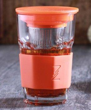Заварник-стакан с силиконовой защитой и ситечком ZestGlass 415 мл Orange Pasabahce DP83528