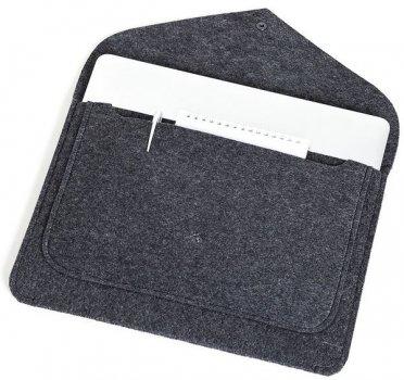 Фетровый чехол-конверт Gmakin для Macbook Air 13 (2012-2017) / Pro Retina 13 (2012-2015) черный (GM62) Black