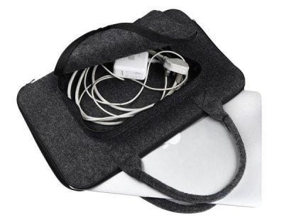 Фетровий чохол-сумка Gmakin для MacBook Pro Retina 15 (2012-2015)/ New Pro 15 (2016-2018) чорний з ручками (GS02-15) Black