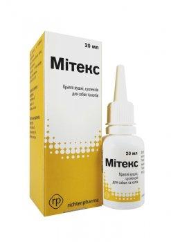 Вушні краплі Мітекс Mitex Richter Pharma для лікування отитів у котів та собак, флакон 20 мл