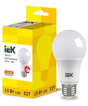 Лампа LED ALFA A60 куля 230В 15Вт 3000К E27 IEK (LLA-A60-15-230-30-E27)