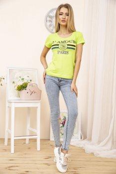 Стильная женская летняя футболка салатового цвета с круглым вырезом размер FG_00017_04