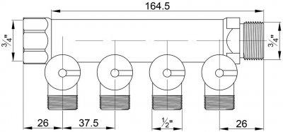 Колектор ICMA ручного регулювання 4 виходи (87227PC06)