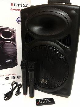 "Акустична система комбік 2 радіо мікрофона бездротова акумуляторна колонка 12"" USB FM UKC BT12A Black"