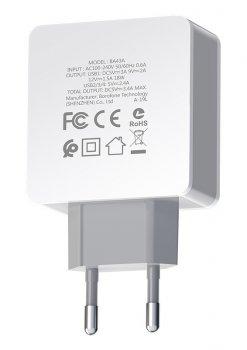 Мережевий зарядний пристрій Borofone BA43A Bountiful 4xUSB QC3.0 18 Вт Білий