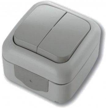 Выключатель 2-х клавишный VIKO Palmiye Серый (90555502)