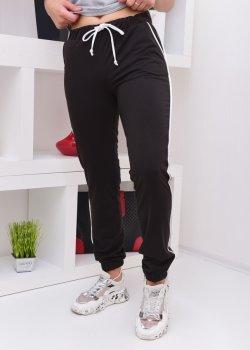 Спортивні штани з білим кантом idiali Чорний (52102)