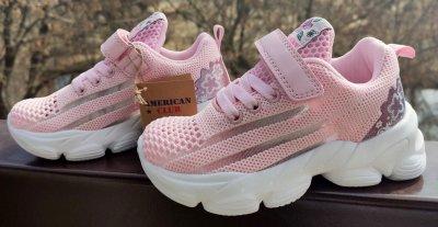 Дитячі кросівки для дівчинки на липучці American Club ES 24/21 рожевого кольору