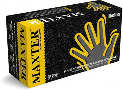 Перчатки нитриловые одноразовые нестерильные без пудры Maxter 5.0 Mil размер L 100 шт - 50 пар Черные (9555002107130)