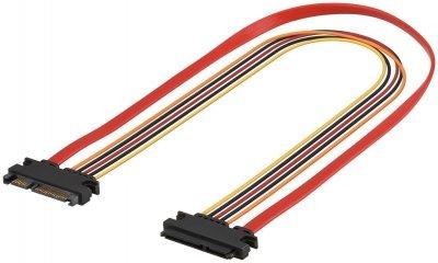 Кабель накопичувача-подовж. Goobay SATA 22p M/F 0.5m Data+Power 6Gbps різнобарвний(75.09.3871)