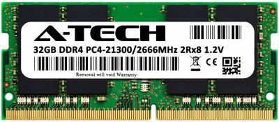 Оперативная память A-Tech 32GB DDR4-2666 (PC4-21300) SODIMM 2Rx8 (AT32G1D4S2666ND8N12V)