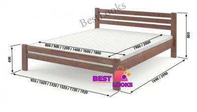Ліжко дерев'яне двоспальне 180х200 Прем'єра Wellmebely сосна Білий Л6