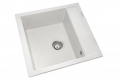 Кухонна мийка GRANADO Merida white (0305) + сифон одинарний для кухонної мийки Nova
