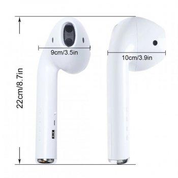 Гігантська портативна колонка з мікрофоном - потужна портативна бездротова музична гарнітура - гучний звук активна акустична система Giant Headphone Speaker Bass 22,2 см з картою пам'яті + радіо, USB, AUX 3,5 Bluetooth White (MK-101)