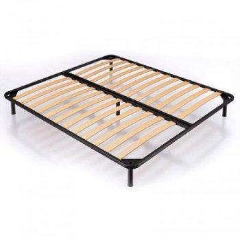 Ліжко півтораспальне з металевим каркасом і м'яким узголів'ям з ДСП і ДВП 120х190 Ніка оббивка тканина коричневий Eurosof (без матраца і ніші)