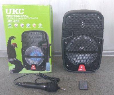 Портативная Bluetooth колонка UKC RE-258 с проводным микрофоном