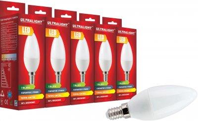 Світлодіодна лампа Ultralight LED C37 7W 3000K E14 (UL-51891) 5 шт.