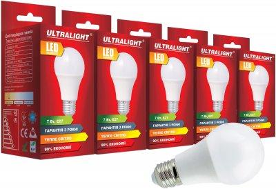 Світлодіодна лампа Ultralight LED A60 7 W 3000 K E27 (UL-51888) 5 шт.