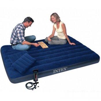 Надувний матрац з подушками і насосом Intex 152 х 203 х 25 см Синій 64765