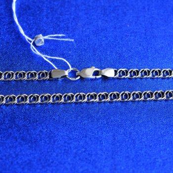 """Срібна ланцюжок Meridian 925 проби плетіння """"Блискавка"""" в чорнінням 50 розмір (5113/11500)"""
