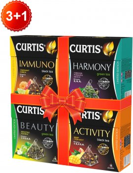 Набір чаю Curtis по 18 пірамідок Activity BlackTea + Immuno BlackTea + Harmony GreenTea + Beauty GreenTea 129.6 г (2000000000015)