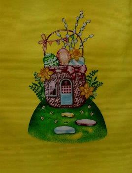 Вафельное полотенце Зоряне Сяйво Пасха Домик Желтый 45х60 см (911_пасха домик желтый)