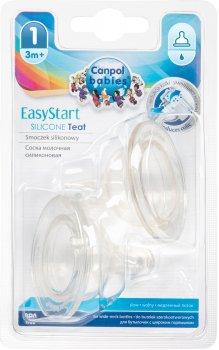 Соска силиконовая Canpol Babies EasyStart свободная до бутылочек с широким отверстием 2 шт (21/730)