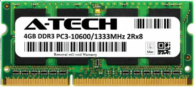 Оперативная память A-Tech 4GB DDR3-1333 (PC3-10600) SODIMM 2Rx8 (AT4G1D3S1333ND8N15V)