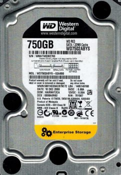 Накопитель HDD SATA 750GB WD RE3 7200prm 32MB (WD7502ABYS) гар. 12 мес. Refurbished