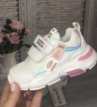 Дитячі кросівки для дівчинки Bessky білі з рожевим