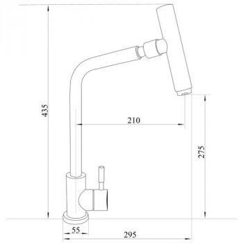 Кран кухонний однозахватный з гнучким шлангом IMPERIAL сатин 31 нержавіюча сталь IMP3110732