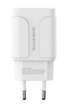 Мережевий зарядний пристрій Borofone BA37A Speedy 2xUSB 2.4 А Білий
