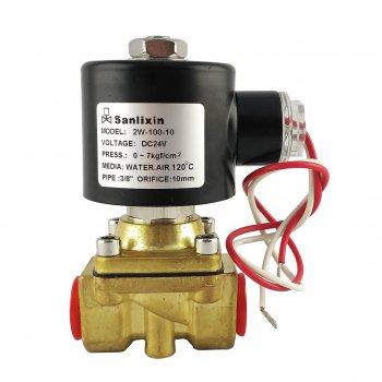 """Нормально закритий клапан Sanlixin прямої дії 3/8"""" (24V) латунний (2W100-10)"""