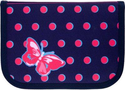 Пенал з наповненням Kite Education Butterflies 1 відділення 2 закоти Темно-синій Джинс (K21-622H-3)