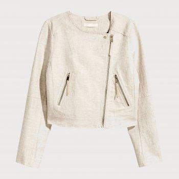 Джинсова куртка H&M 4843945 Біла з бежевим