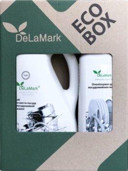 Набор 2в1 DeLaMark Жидкое средство для мытья посуды 2 л + Ополаскиватель для посудомоечной машины 1 л (4820152332448)