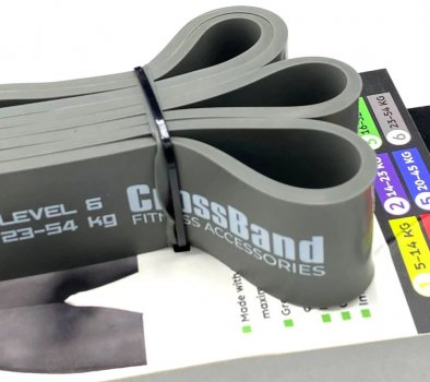 Гумова петля для тренувань PowerPlay 4115 Level6 23-54 кг Сіра (PP_4115_Grey_(23-54 kg))