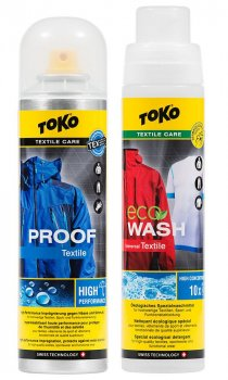 Комплект прання+просочення для одягу Toko Duo-Pack Textile Proof & Eco Textile Wash 2 x 250 ml (5582504)