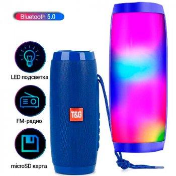 Stereo колонка Bluetooth 5.0 LED підсвічуванням 10W 1200mAh Синій