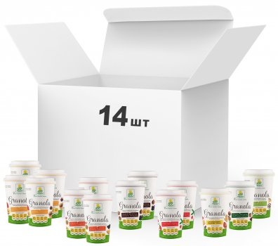 Упаковка граноли Терра Mixed Granola в картонному стаканчику 50 г х 14 шт. (4820015737014)